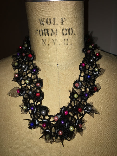 Black Netted Tulle And Pearl Necklace