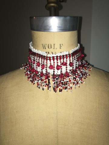 Red Rose Two Tier Dangling Choker