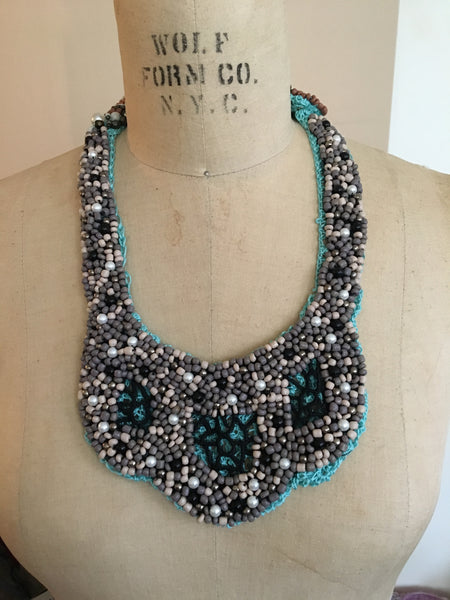Crochet And Beaded African Bid Necklace