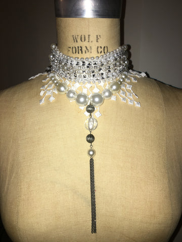 Ivory Pearl And Rhinestone Tassel Collar With Pearl Chain Tassel Necklace