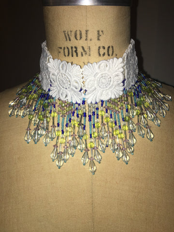 Chandelier Multi Beaded Choker With White Embroidery Square