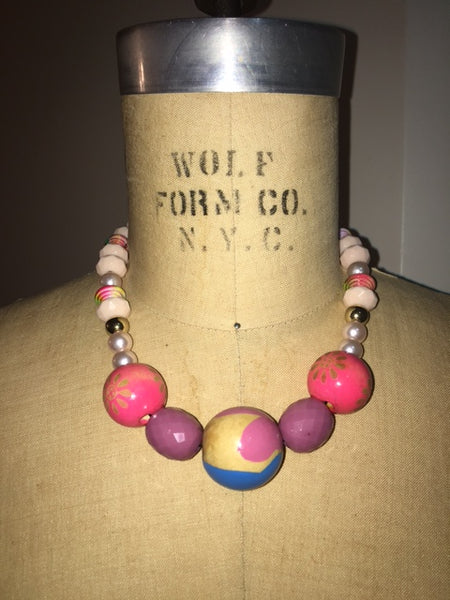 Wooden Painted Pink Necklace