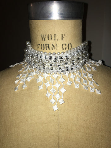 Pearls And Rhinestone Tassel Collar Choker