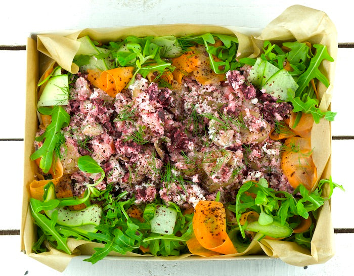 Crushed Roasted Beetroot & New Potatoes Salad Platter | Salad Days Online