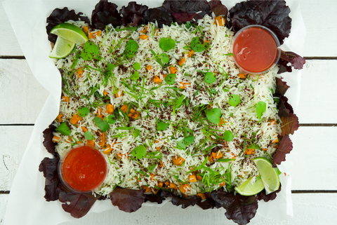 Basmati Rice & Garlic Sweet Potato Platter | Salad Days Online