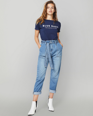 LILA Fashion | Paper Bag Denim Trousers