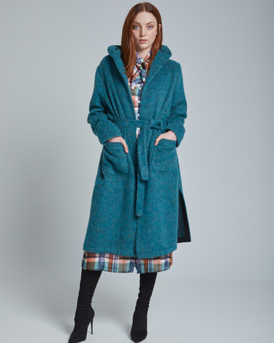 LILA Fashion | Petrol Fuzzy Coat