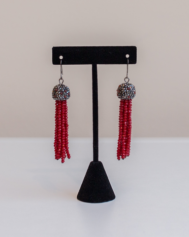 LILA Fashion | Tassel Earrings | Red