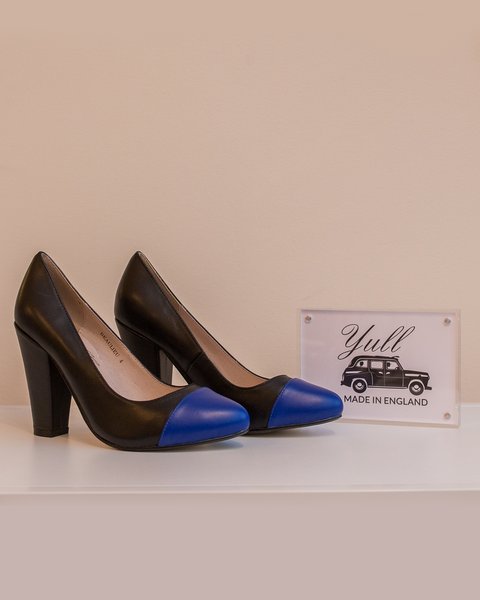 Beaulieu Court Heel | Black & Royal Blue