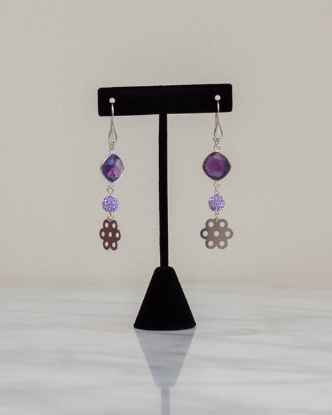 Amethyst Floral Earrings
