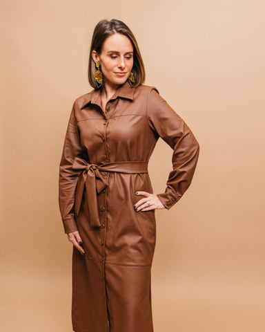 LILA Fashion | Vegan Leather Dress | Tan