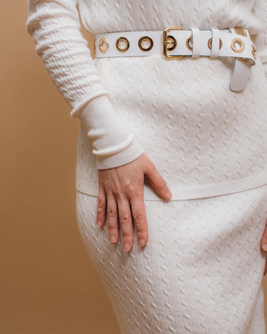 LILA Fashion | Cable Knit Skirt | White
