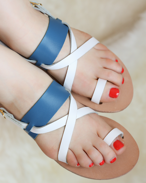 Olympia Sandals | White & Turquoise
