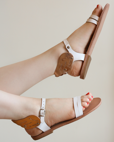 LILA Fashion | Hermes Winged Sandal | White & Rose Gold