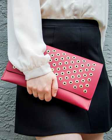 LILA Fashion | Grommet Clutch | Dusty Cedar
