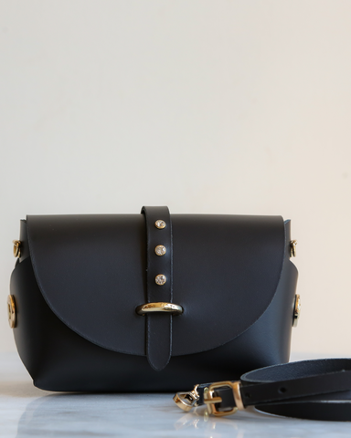 LILA Fashion | 'My Passport' Barrel Bag | Black Strass