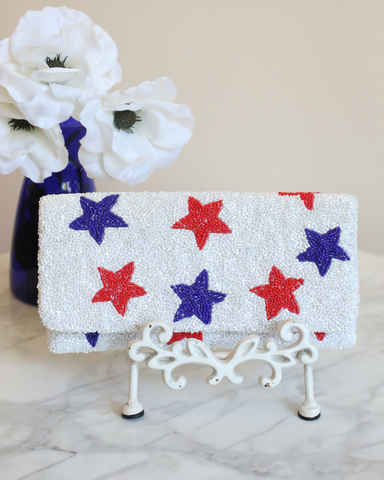 LILA Fashion | Beaded Clutch | Blue & Red Stars