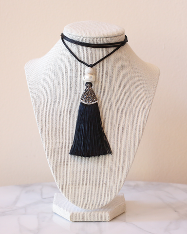 LILA Fashion | Tassel Necklace | Black Silk