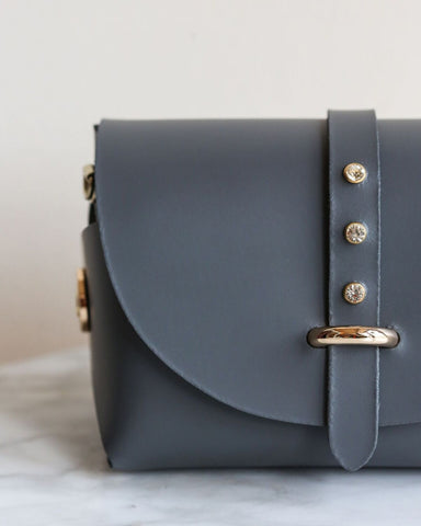 LILA Fashion | 'My Passport' Barrel Bag | Steel Grey Strass