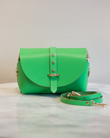 LILA Fashion | 'My Passport' Barrel Bag | Bright Green Strass