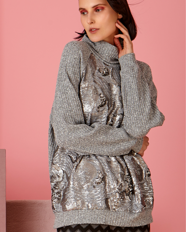 LILA Fashion | Grey Sequin Sweater