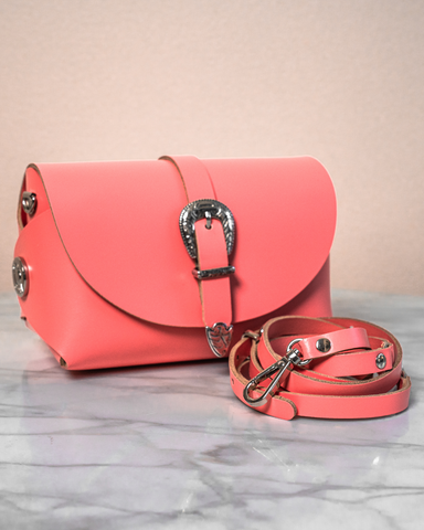 LILA Fashion | 'My Passport' Buckled Barrel Bag | Coral Pink