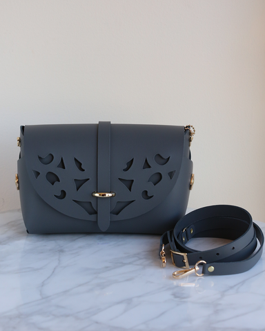 LILA Fashion | 'My Passport' Barrel Bag | Cutouts Steel Grey