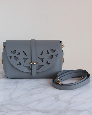 LILA Fashion | 'My Passport' Barrel Bag | Cutouts Grey