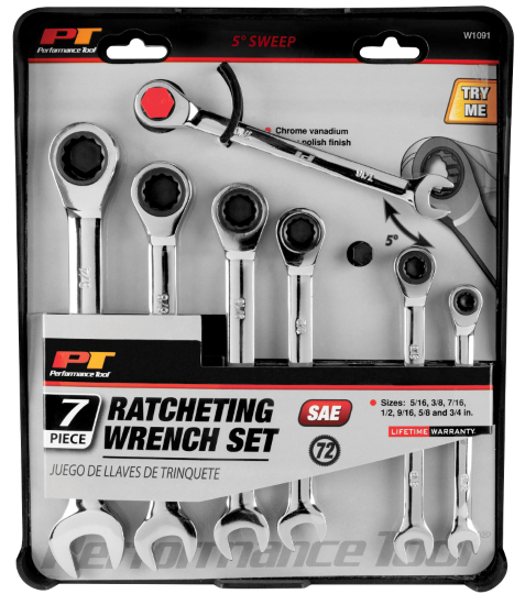W1091 7pc SAE Ratcheting Wrench Set