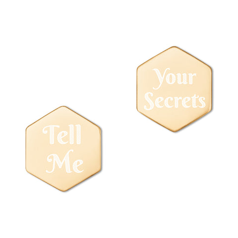 """Tell Me / Your Secrets"" Sterling Silver Hexagon Stud Earrings"