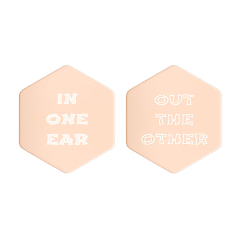 """In one ear, out the other"" - Sterling Silver Hexagon Stud Earrings"