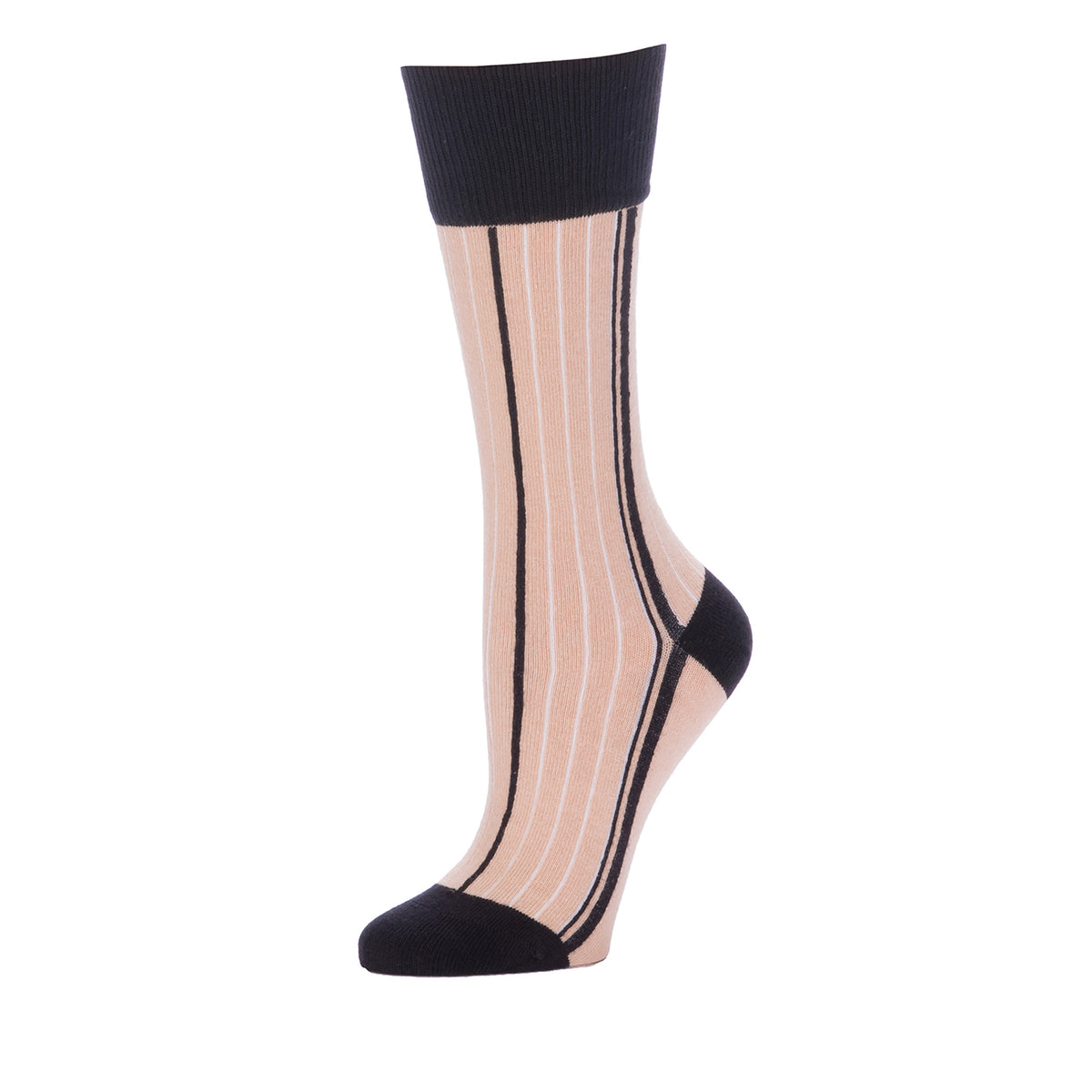 Vertical Side Stripes Mid Calf- Nude