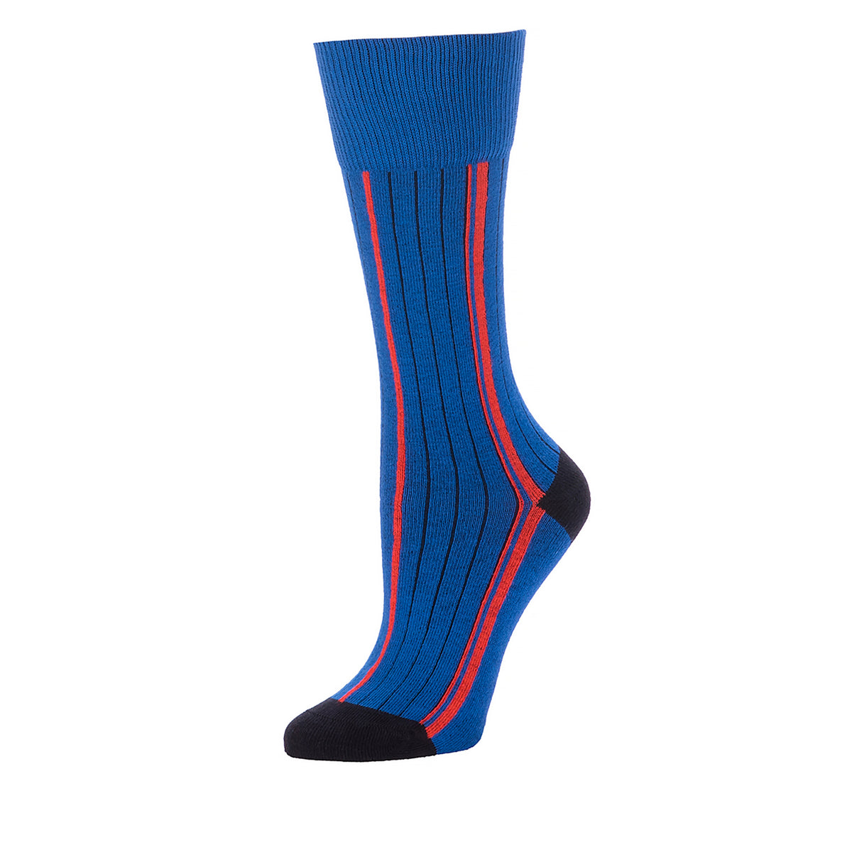 Vertical Side Stripes Mid Calf- Cobalt