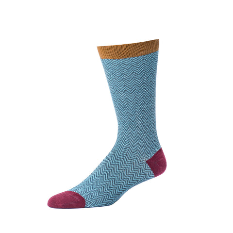 Men's Textured Herringbone Crew Sock- Slate
