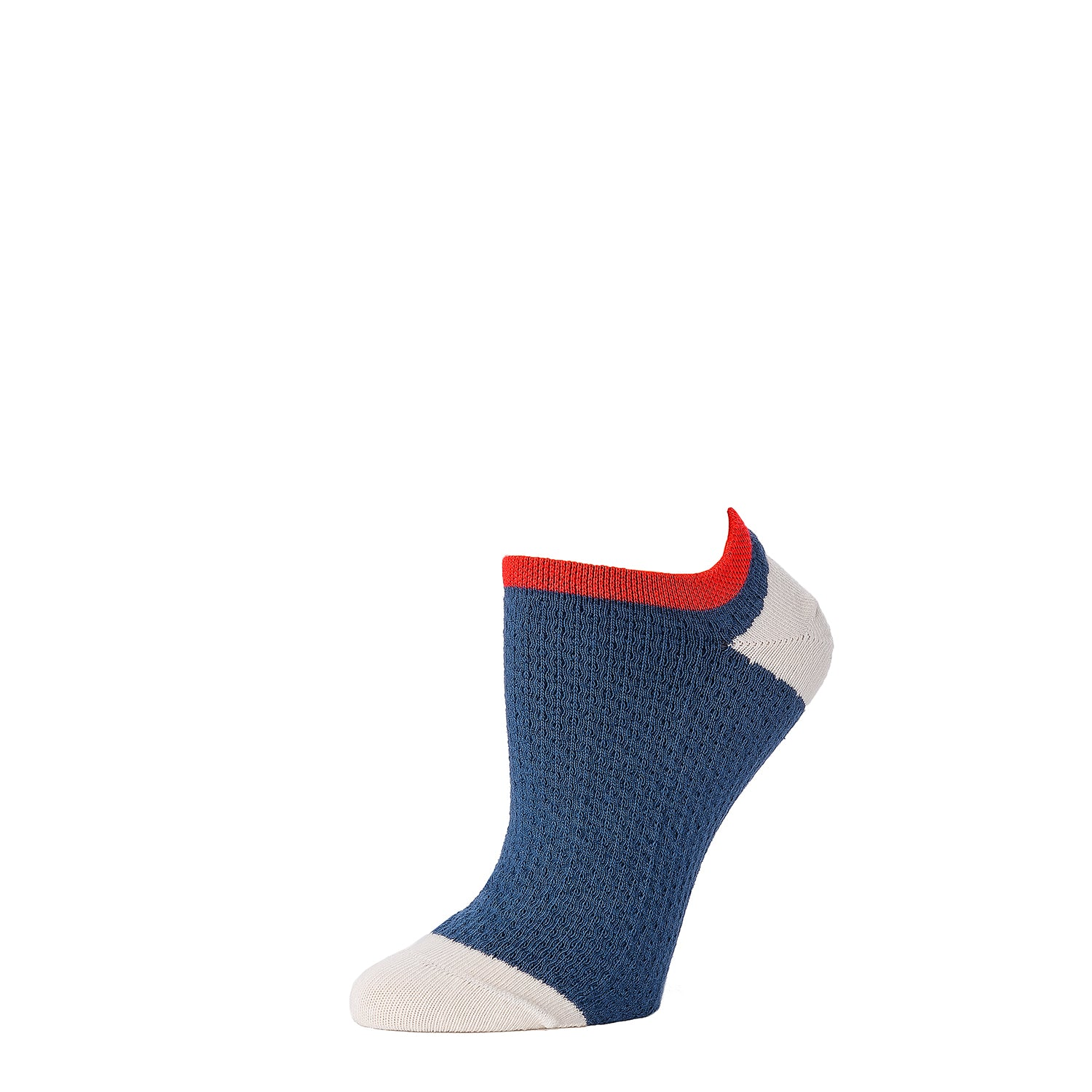 Mini Cable Knit Footie- Navy + Natural