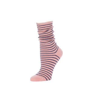 Slouch Sock Striped- Antique Pink