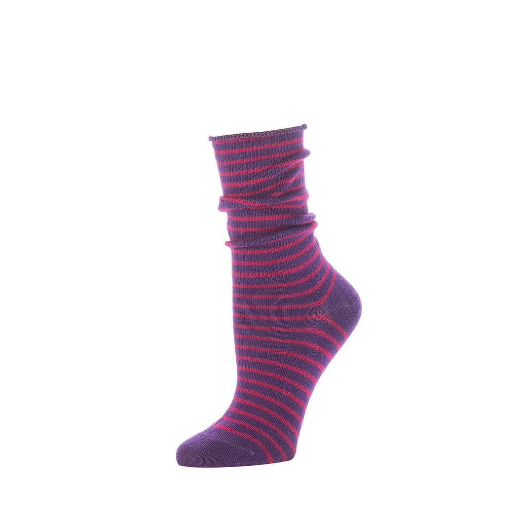 Slouch Sock Striped- Eggplant