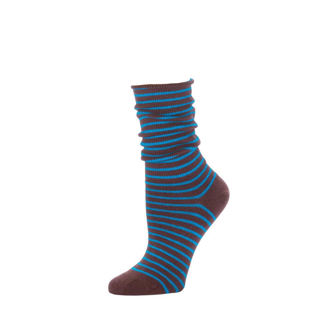Slouch Sock Striped- French Roast