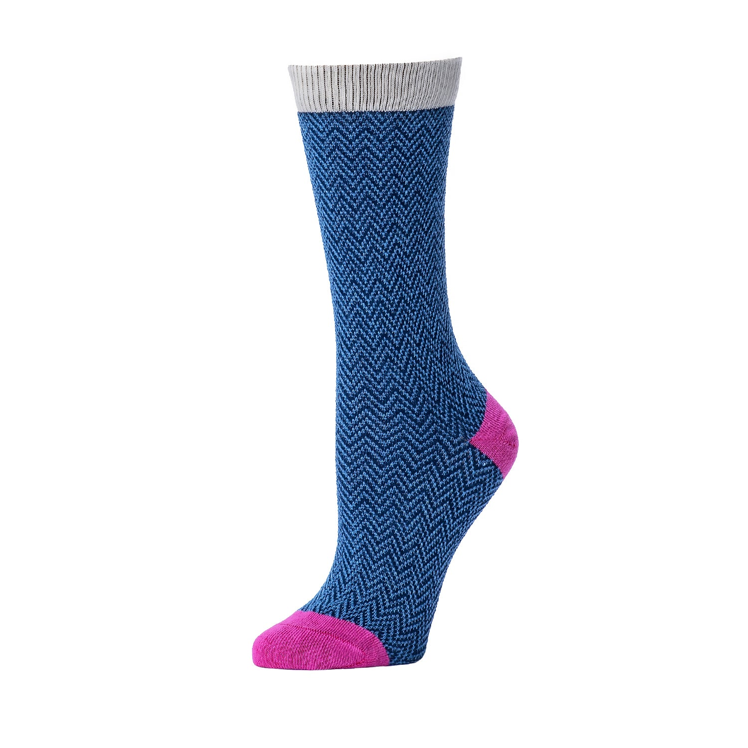 Textured Herringbone Crew Sock- Navy