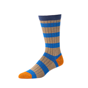 Men's Striped Ribbed Crew- Cobalt