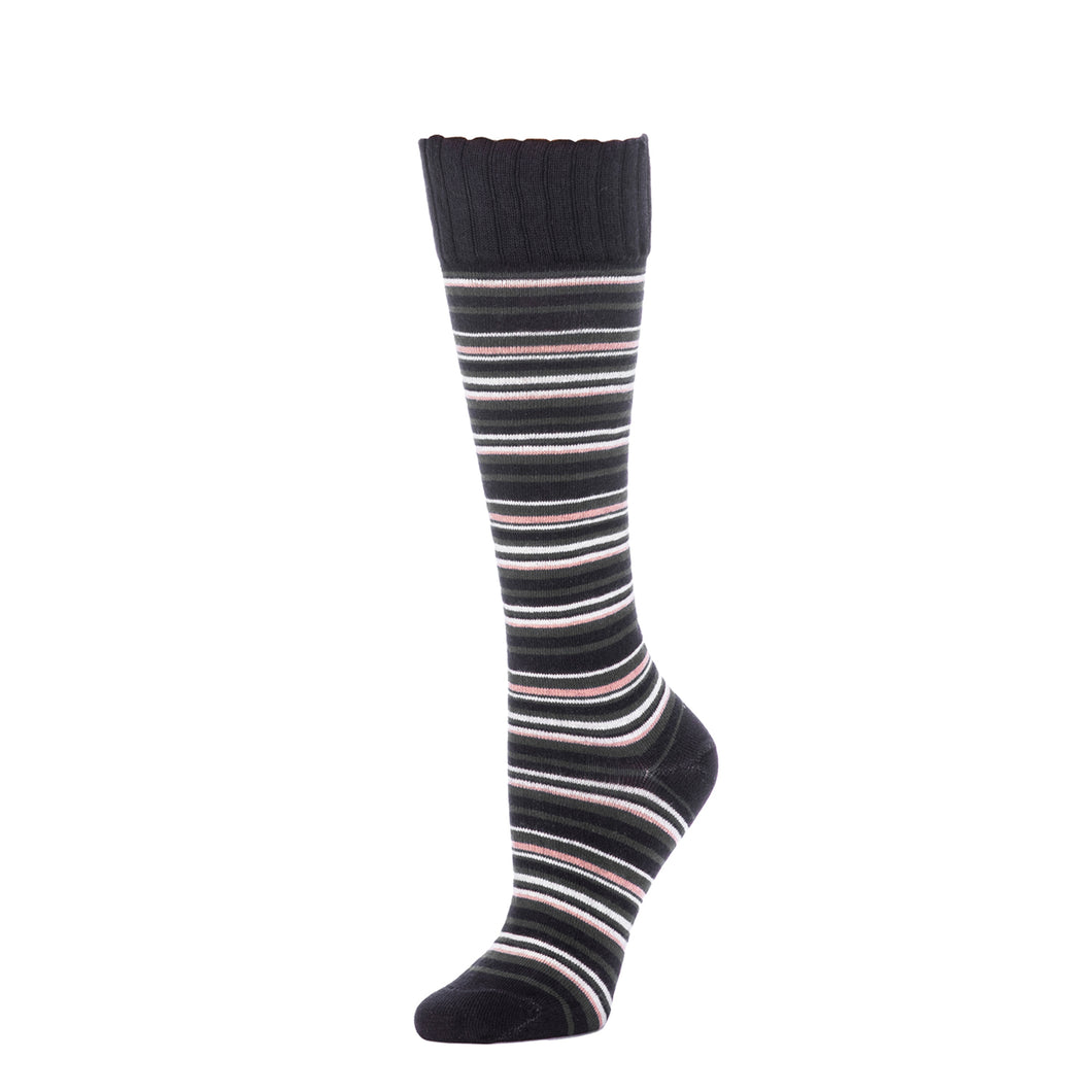 Multi Stripe Knee High- Black