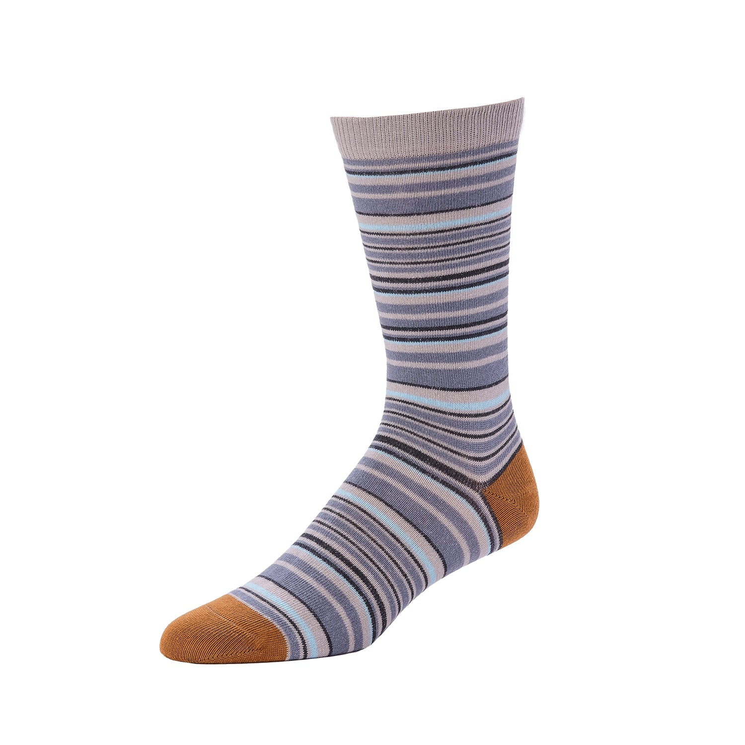 Men's Multi Stripe Crew- Heather Multi