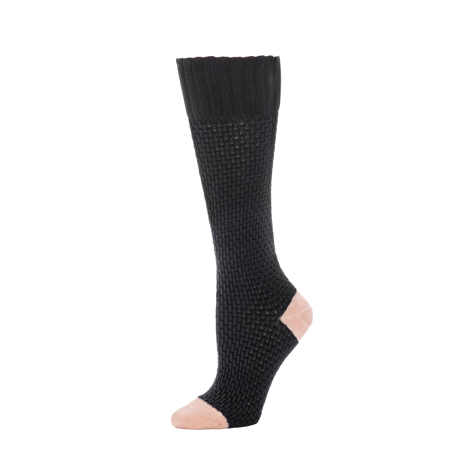 Basket Weave Textured Knee High- Black