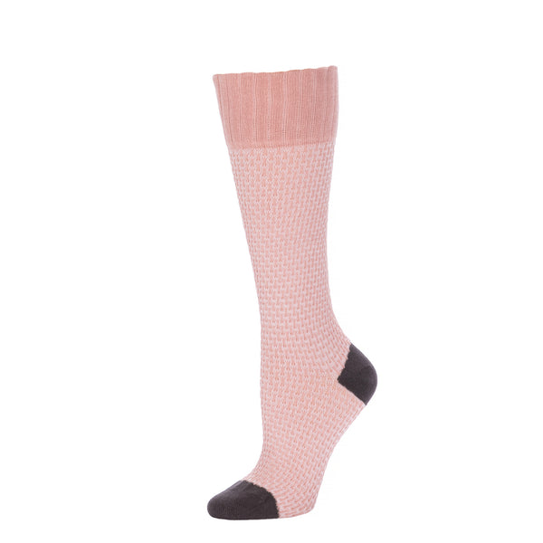Basket Weave Textured Knee High- Antique Pink