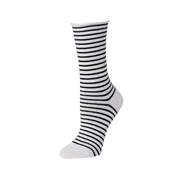 Slouch Sock Striped- White