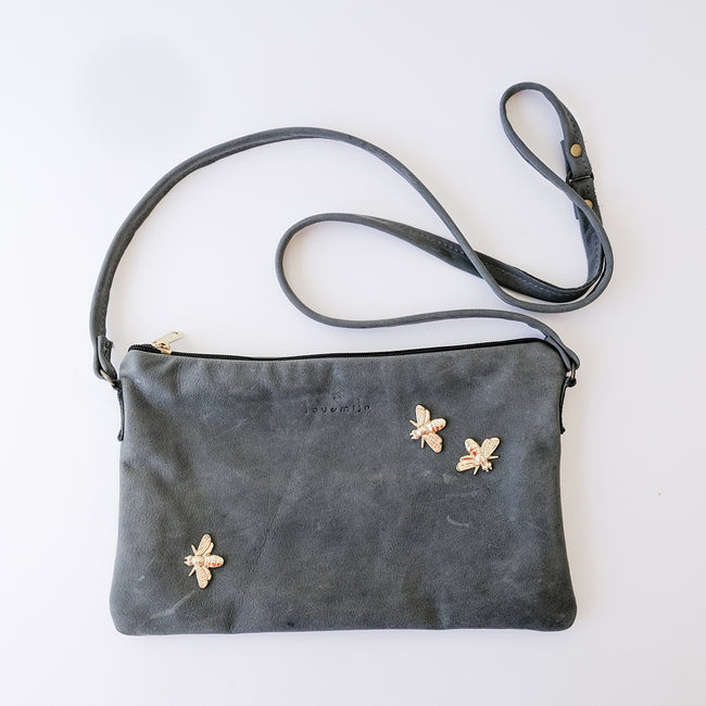 Grey Leather Bee Sling Bag