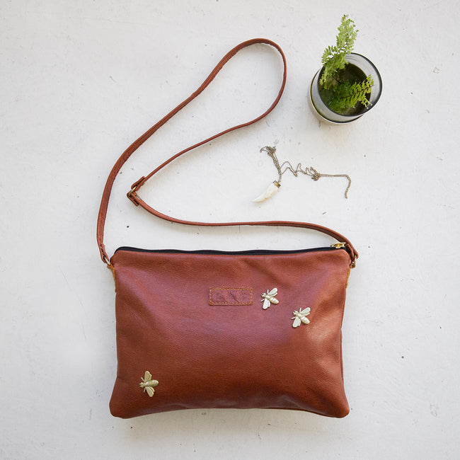 Leather Bee Sling Bag