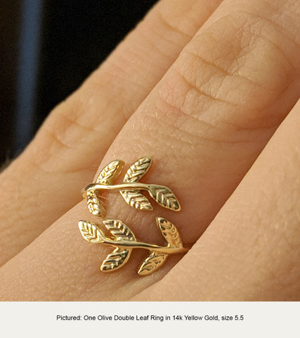 Olive Double Leaf Ring in 14k Yellow Gold in size 5.5
