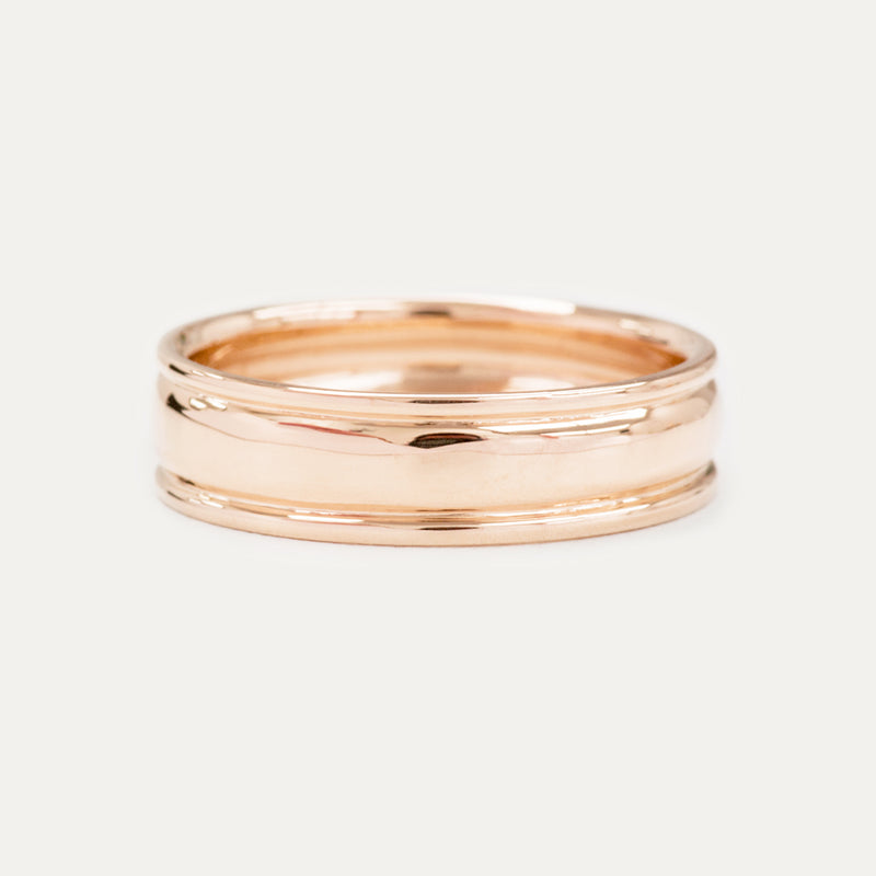 Classic Grooved Dome Wedding Band 6MM - Rose Gold