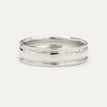 Classic Grooved Dome Wedding Band 6MM - White Gold